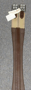 "Millers Patterdale Anti-Chafe Shaped Leather English Girth with Elastic Ends 44"" 46"" 52"" Dark Brown"