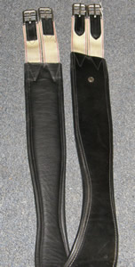 Schleese Shaped Leather Overlay English Girth Contour Girth with Elastic Ends Black 56""