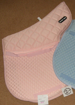 Diamond Quilted Cotton Close Contact Pad Padded Contour Pad All Purpose English Saddle Pad Pink