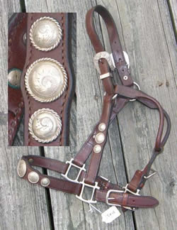 Billy RoyalWestern Show Halter Stock Halter with Silver Conchos Dark Brown Horse