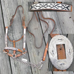 Western Show Halter Stock Halter with Silver & Lead, Silver with Black Design Chestnut Brwon Horse