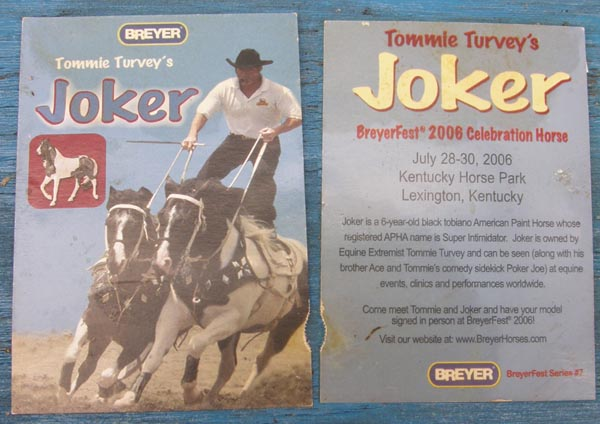 Breyer #711106 Tommie Turveys Joker Breyer Horse Trading Card Breyerfest Celebration Model 2006