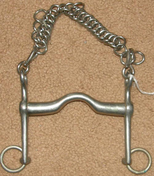 "Albacon 4 3/4"" German Silver Dressage Curb Bit with Curb Chain Never Rust Low Port Weymouth Bit"