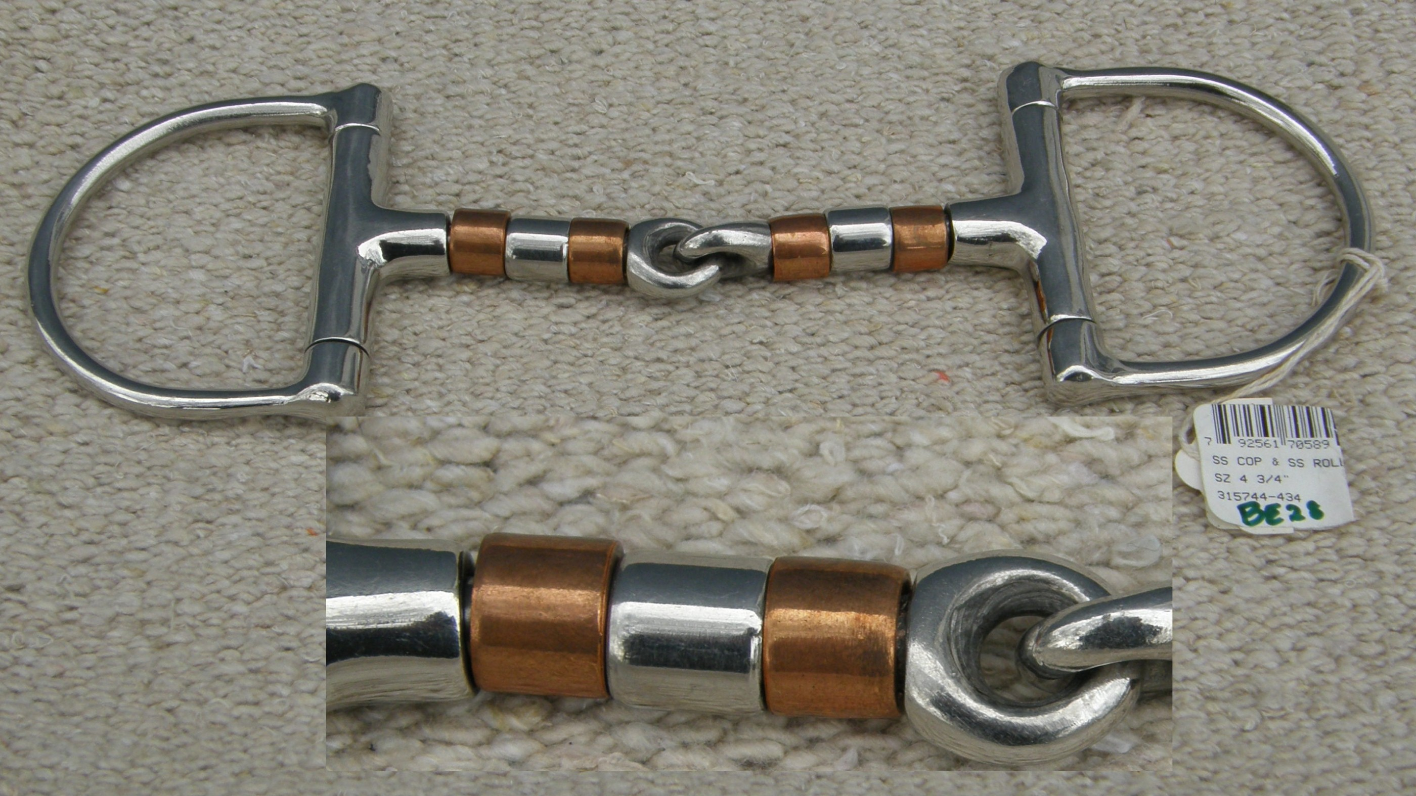 Stainless Steel Copper Mouth English or Western D-Ring Dee Ring Snaffle Bit