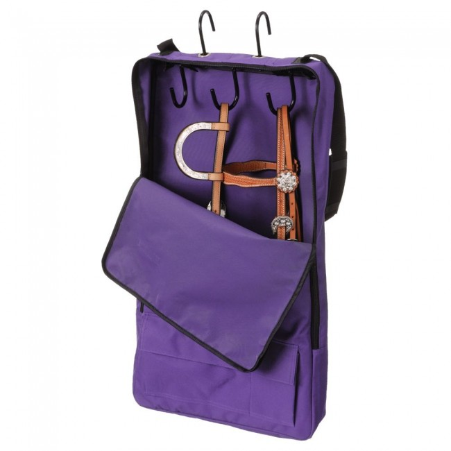 Tough 1 Bridle Halter Carrier Bag with 3 Prong Tack Rack Black Purple Mini Horse Harness Bag