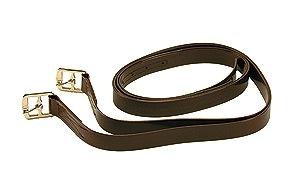 "Kids Childs Stirrup Leathers 48"" Stirrups Irons Pads English Saddle  DARK BROWN"