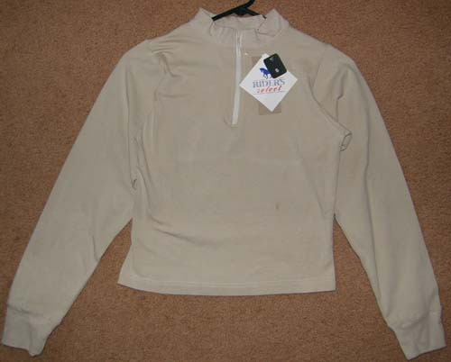 Ladies Small Riders Select Long Sleeve Mock Neck Zip Up Shirt, English Shirt