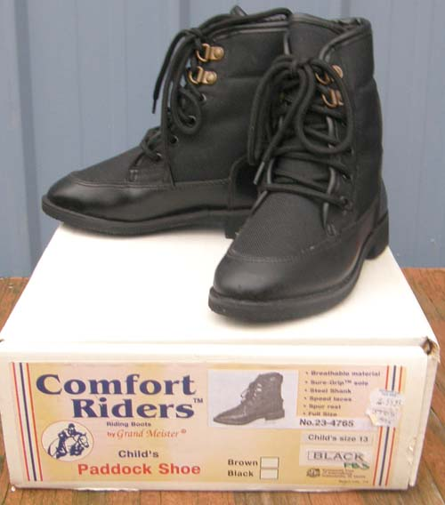 Comfort Riders Ice Breaker English Boots Lace Up Paddock Boots Insulated Riding Boots Childs 13, 1, 2, 4, 4 1/2, 5 Black Winter Riding Boots