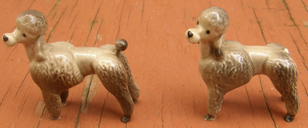 Vintage Hagen-Renaker #346 Poodle Style Two Grey Poodle Cut HR Mini China Dog Figurine