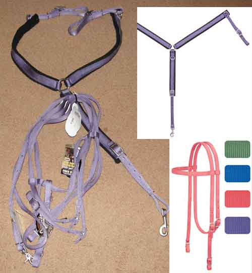 Weaver Purple Nylon Western Bridle Western Headstall Roping Reins Curb Chain Breastcollar Set