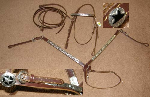 Brown Leather with Black & Silver Star Trim Western Headstall Silver Trim Western Bridle Split Reins & Breast Collar Set