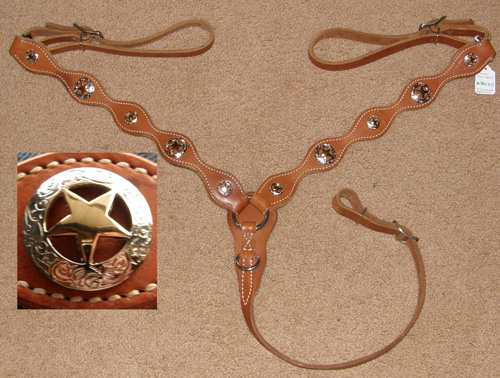 Weaver Lone Star Legend Western Breastcollar Scalloped Shaped Western Breast Collar Center Ring Texas Star Conchos