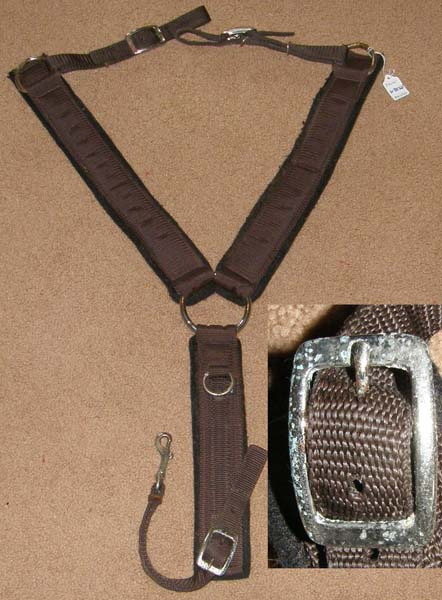 "Weaver 2"" Center Ring Felt Lined Nylon Western Breastcollar Synthetic Western Breast Collar"