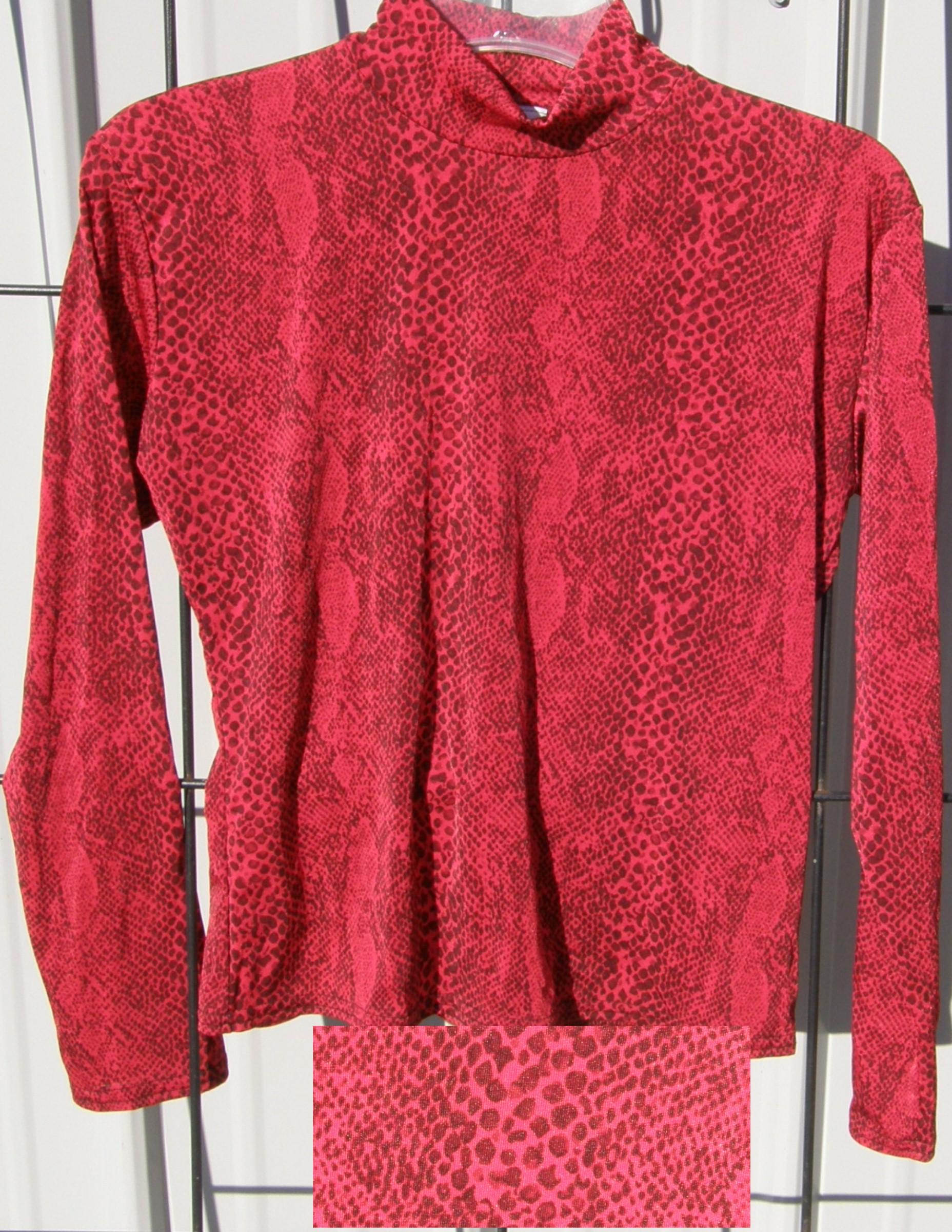 816bb2e6 ... FTWW Slinky Top Western Show Shirt Red Snakeskin Print Red Python Print  Ladies L ...
