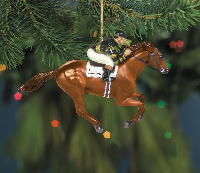 breyer 700662 man owar thoroughbred racehorse tb race horse christmas ornament holiday horse - Horse Christmas Ornaments