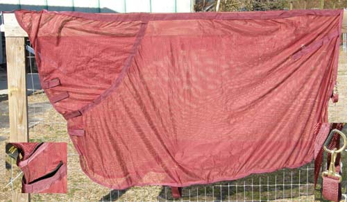 Contour Fitted Cooler Style Mesh Fly Sheet Burgundy Medium 70-76