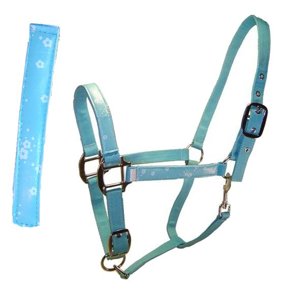BLUE,YELLOW PONY SIZE NYLON HALTER WITH SNAP AT THROAT PINK ADJUSTABLE  CROWN