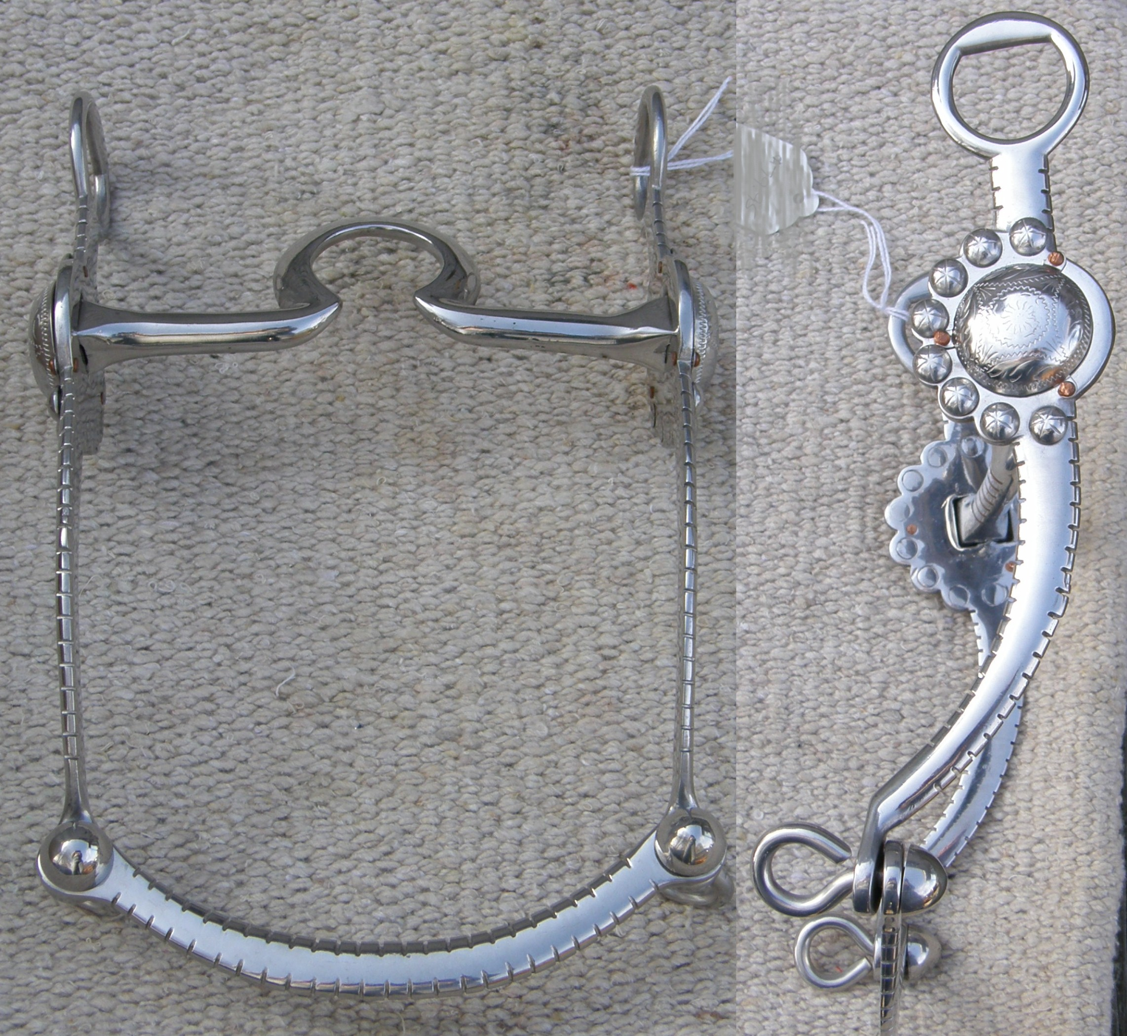 Gorgeous Silver Engraved Western Show Bit w// Copper Spoon Mouth Horse Tack